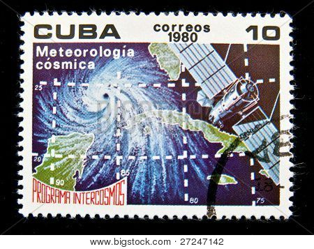 CUBA - CIRCA 1980: A stamp printed in the Cuba shows Space Meteorological station, circa 1980. Big space series