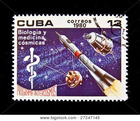 CUBA - CIRCA 1980: A stamp printed in the Cuba shows Space station for biological and medical experiments, circa 1980. Big space series