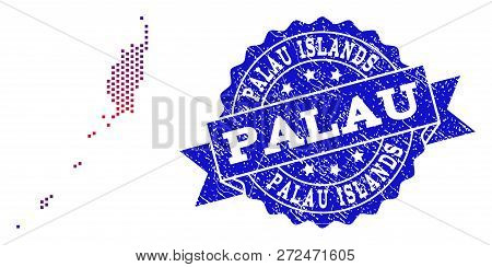 Geographic combination of dotted map of Palau Islands and grunge seal. Mosaic vector map of Palau Islands composed with square dots and gradient from blue to red color. poster