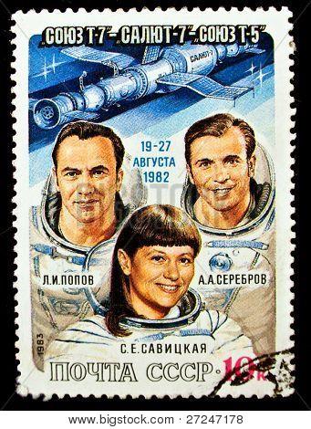 USSR - CIRCA 1983: A stamp printed in the USSR shows Soviet cosmonauts Popov, Serebrov, Savitskaya, circa 1983. Big space series
