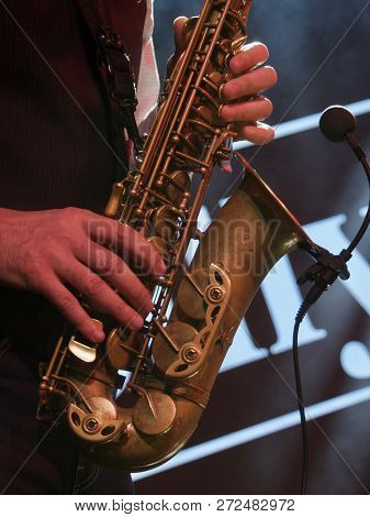 Jazz Day Festival. Saxophone, Music Instrument Played By Saxophonist Player Musician