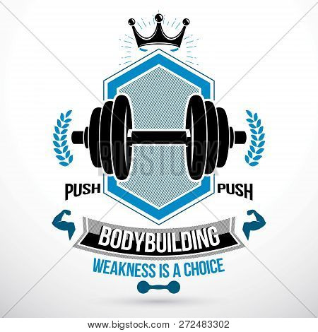 Vector Graphic Sign Composed Using Weight Disc Dumbbell And Muscular Arms Of Bodybuilder. Fitness Wo