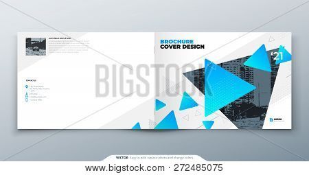Landscape Brochure Design. Blue Corporate Business Template Brochure, Report, Catalog, Magazine. Bro