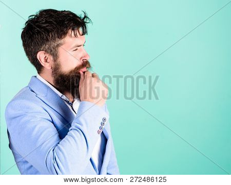 Man Thoughtful Doubtful Face Thinking. Have Some Doubts. Hipster Bearded Face Not Sure In Something.