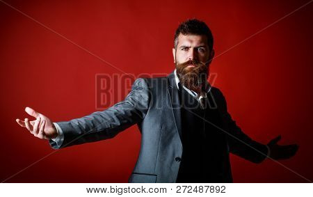 Studio Portrait Of A Bearded Hipster Man. Male Beard And Mustache. Handsome Stylish Bearded Man. Bea
