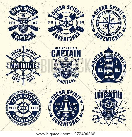 Maritime Thematic Set Of Nine Vector Emblems, Labels, Badges Or Logos. Vector Illustration On Separa