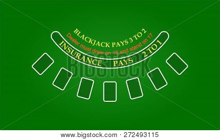 Black Jack Table, Vector Illustration, Eps, Cosino