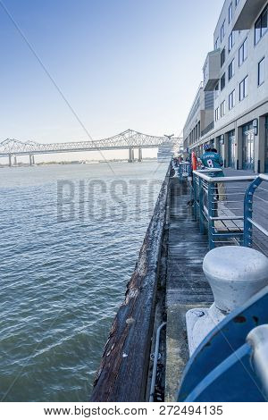 New Orleans, Usa - Dec 4, 2017: Moments After Carnival Dream Cruise Liner Leaving The Wharf Area On