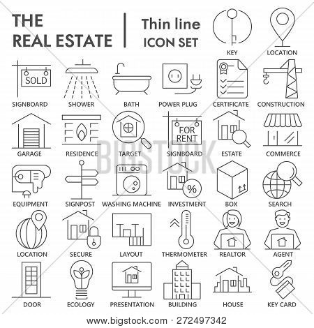 Realestate Thin Signed Line Icon Set, House Symbols Collection, Vector Sketches, Logo Illustrations,