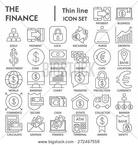 Finance Thin Line Signed Icon Set, Bank Symbols Collection, Vector Sketches, Logo Illustrations, Mon