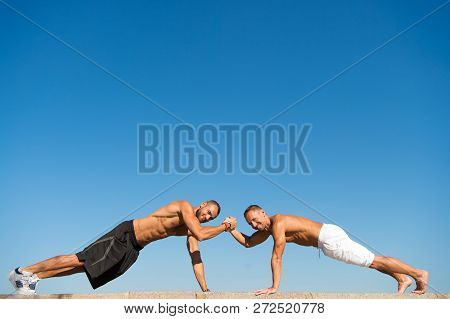 Daily Exercise Concept. Push Ups Challenge. Men Motivated Workout Outdoors. Improve Endurance By Pus