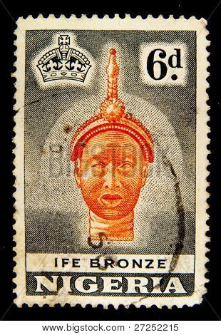 NIGERIA - CIRCA 1954: A stamp printed in Nigeria shows Ife bronze casting of a King, dated around 12th Century, in the British Museum, circa 1954