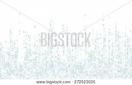 Vector Streaming Binary Code Background. Hacker Coding Concept, Row Matrix Vector. Data Technology C
