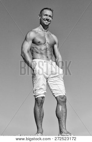 Feel Confidence. Guy Muscular Belly Posing. Sport And Bodycare. Muscular Masculine Guy Look Confiden