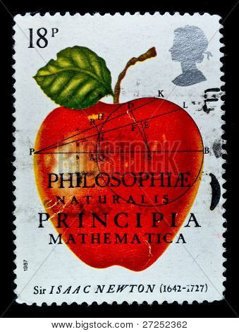 UK - CIRCA 1987: A stamp Printed in United Kingdom in the memory of Sir Isaak Newton, circa 1987