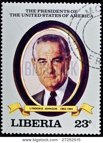 LIBERIA - CIRCA 2000s: A stamp printed in Liberia shows President Lyndon B. Johnson, circa 2000s.