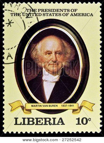 LIBERIA - CIRCA 2000s: A stamp printed in Liberia shows President Martin Van Buren, circa 2000s.