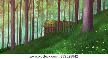 Natural Forest Park. Fiction Backdrop. Concept Art. Realistic Illustration. Video Game Digital Cg Ar