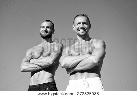 Feel Confidence. Guys Muscular Belly Posing. Sport And Bodycare. Muscular Masculine Guys Look Confid