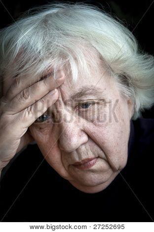 Old sad woman.