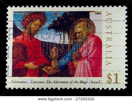 AUSTRALIA - CIRCA 1994: A stamp printed in Australia shows draw by Giovanni Toscani