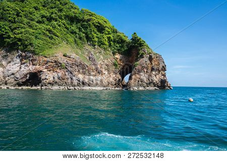 Seascape With The Forest Cliff And Clear Sky In The Morning, Koh Talu In Thailand