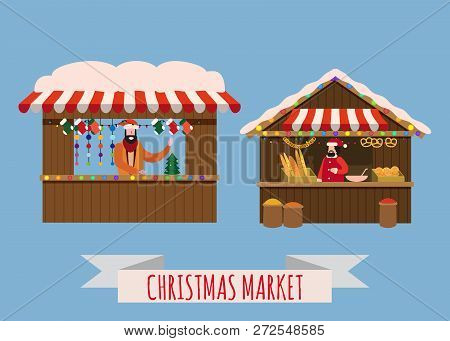 Christmas Market Stalls, Canopy Seller With With New Year Decorations, Gifts. Xmas Bakery, Bread Sho