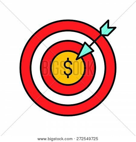 Arrow And Dartboard, Goal For Financial Success Concept, Bank And Financial Related Icon, Filled Out