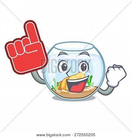 Foam Finger Fishbowl In A Funny On Cartoon