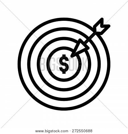 Arrow And Dartboard, Goal For Financial Success Concept, Bank And Financial Related Icon, Editable S