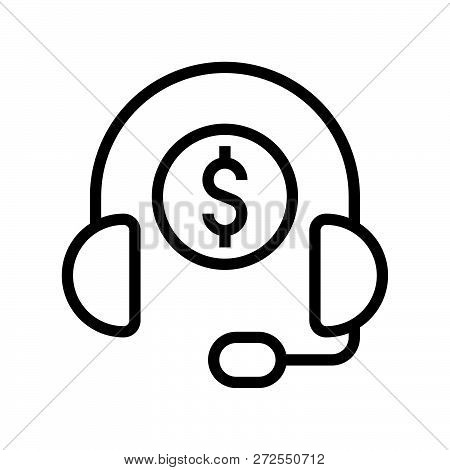 Headphone And Coin, Personal Financial Consultant Service, Bank And Financial Related Icon, Editable
