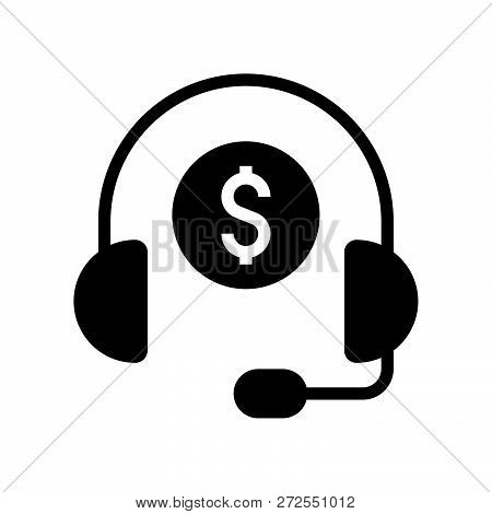 Headphone And Coin, Personal Financial Consultant Service, Bank And Financial Related Icon, Glyph De