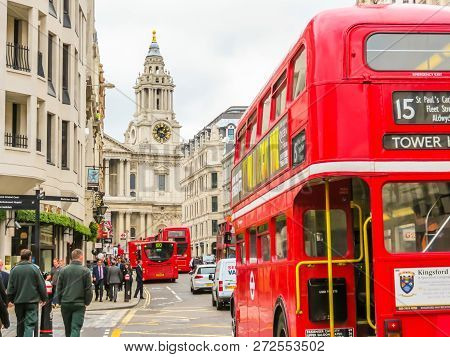 London, United Kingdom - June 11, 2013: Road Traffic In London. Red Double Decker Buses On The Stree