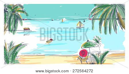 Hand Drawn Seaside Vector Photo Free