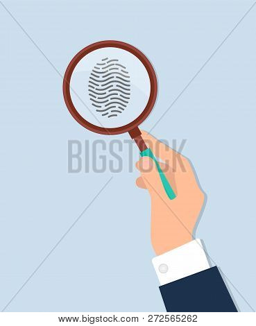 Human Hand Holds Magnifying Glass And Investigate Fingerprint Vector Isolated On White. Criminalisti
