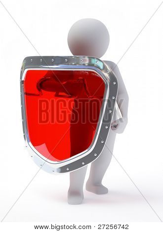 3d abstract person in pose of defender with shield isolated on white background