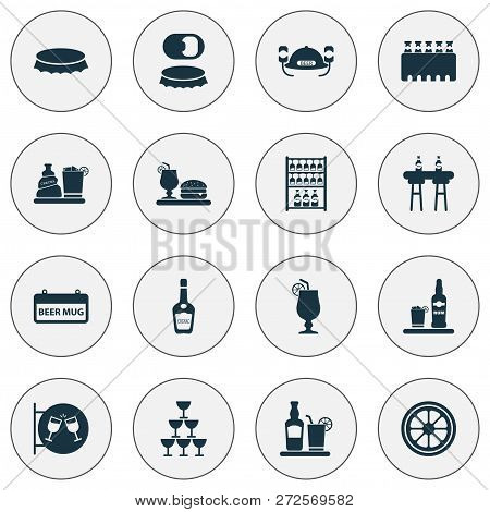 Beverages Icons Set With Signboard, Glasses, Bottle Opener And Other Liqueur Elements. Isolated Vect