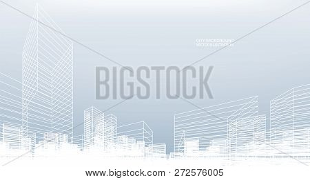 Abstract Wireframe City Background. Perspective 3d Render Of Building Wireframe. Vector Illustration