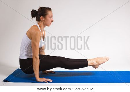 set of young attractive yoga girl doing exercise. 30 of 116 poster