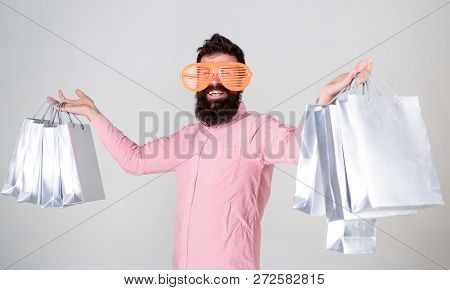 Shopping On Black Friday. Happy Shopping With Bunch Paper Bags. Shopping Addicted Consumer. Profitab