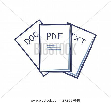 Pdf And Doc, Text Documents Isolated Icons Vector. Electronic Files Containing Information And Data.