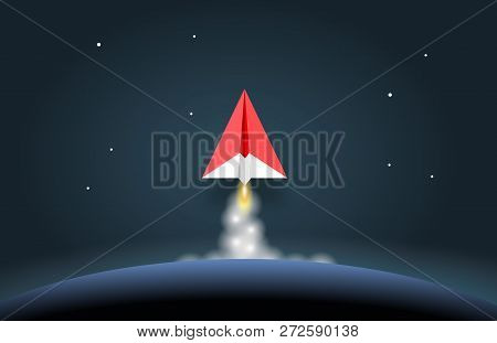 Concept Of Business Start-up, Boost Or Success. Paper Rocket Or Paper Plane Launch Above Planet Eart