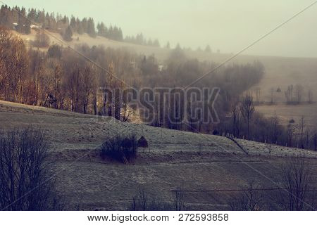 Winter Mountain Landscape. Mountains In The Snow. The First Snow In The Mountains.