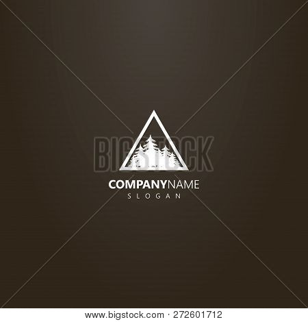 White Logo On A Black Background. Vector Flat Art Logo Of A Coniferous Forest In A Triangular Frame