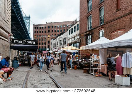 New York City, Usa - June 24, 2018: Brooklyn Flea Market In Dumbo. It Includes Vendors Of Furniture,