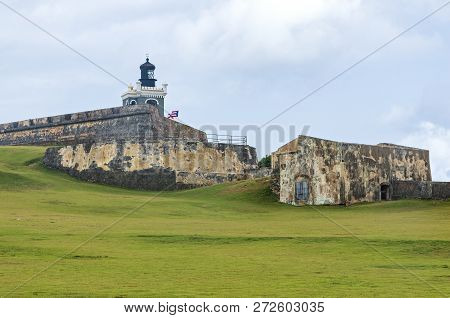 Historic El Morro Fortress Lighthouse Bastion And Walls In Old San Juan Puerto Rico