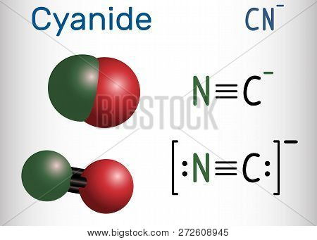 Cyanide Anion Molecule. Structural Chemical Formula And Molecule Model. Vector Illustration