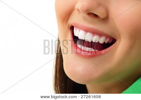 perfect smile healthy tooth cheerful teen girl isolated on white background