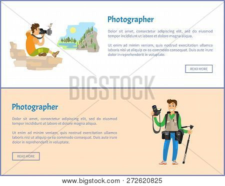Photographers Of Landscape With Tripod And Backpack Banners Set. Man Holding Camera, Sitting Mountai