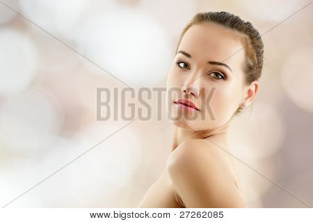 woman young beautiful over nature background